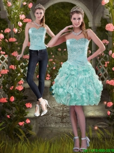 Detachable Classical 2015 Strapless Prom Dress with Beading and Ruffles