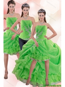 Detachable Exclusive Strapless Spring Green Prom Dress with Appliques and Ruffles