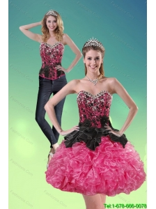 Detachable Fashionable 2015 Sweetheart Multi Color Prom Dress with Ruffles and Beading