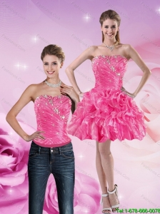 Detachable Gorgeous 2015 Strapless Hot Pink Prom Dress with Beading and Ruffles