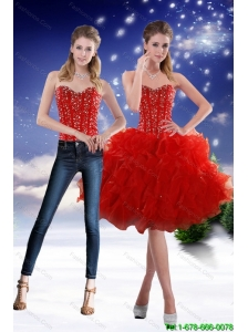 Detachable Luxurious 2015 Sweetheart Red Prom Dress with Beading and Ruffles