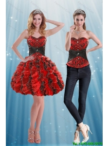 Detachable Multi Color Sweetheart Prom Dress with Appliques and Ruffles