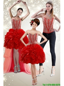 Detachable New Style 2015 Red Prom Dress with Beading and Ruffles