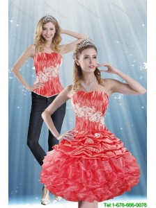 The Super Hot 2015 Strapless Appliques and Pick Ups Detachable Prom Dress in Coral Red
