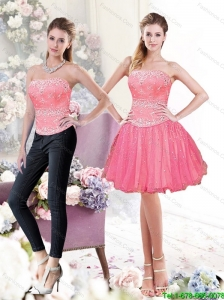 2015 Detachable Exclusive A Line Strapless Beading Prom Dress in Watermelon