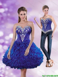 2015 Detachable Exclusive Sweetheart Beading and Ruffles Dama Dress in Royal Blue