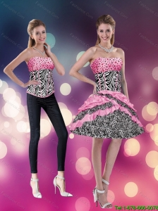 2015  Detachable The Super Hot Strapless Rose Pink Prom Dress with Zebra Print