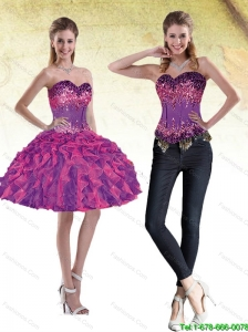 New Style Sweetheart Multi Color 2015 Detachable Prom Dress with Beading and Ruffles