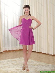 2015 Brand New Sweetheart Short Fuchsia Prom Dress with Ruching