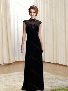 2015 Cheap High Neck Beading and Appliques Prom Dress in Black
