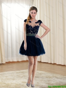 2015 Delicate Scoop Black Prom Dress with Beading and Lace