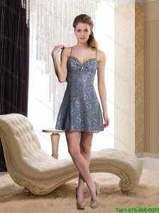 2015 Elegant Sequins Empire Spaghetti Straps Gery Prom Dress