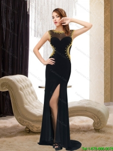 2015 Fashionable Bateau Beading and  High Low Prom Dresses in Black