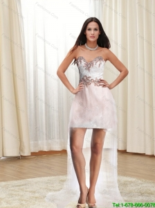 2015 Luxurious Sweethear High Low Prom Dresses with Appliques