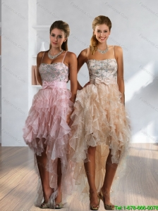 2015 Romantic High Low Prom Dresses with Beading and Ruffles