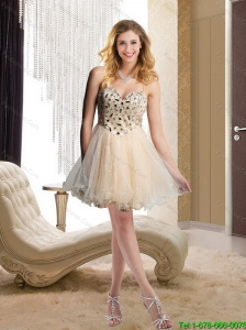 Discount 2015 Spaghetti Straps Beading Champagne Prom Dress