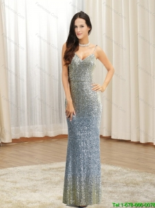 Elegant 2015 Sexy Spaghetti Straps Sequins Prom Dress in Silver and Gold