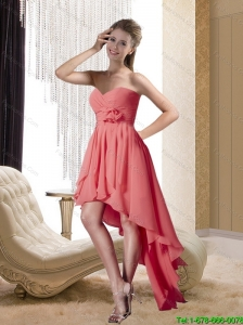 New High Low Sweetheart Prom Dress with Hand Made Flower and Ruching