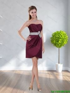 New Style 2015 Strapless Belt Prom Dress in Wine Red