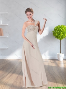 New Style 2015 Sweetheart Ruching Long Prom Dress in Champagne