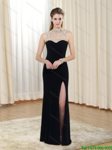Perfect Empire Beading and High Slit 2015 Prom Dresses in Black