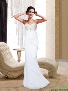 2015 Beautiful Column Sweetheart Beading and Appliques White Elegant Bridesmaid Dresses