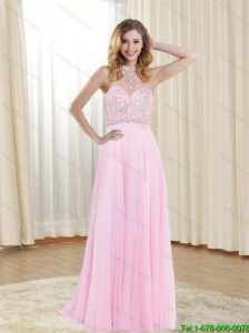 2015 Beautiful Empire Halter Top Backless Rose Pink Bridesmaid Dresses