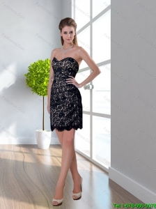 2015 Sweetheart and Short Bridesmaid Dress in Black