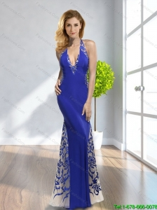 2015 Cheap Empire V Neck Criss Cross Royal Blue Bridesmaid Dresses with Appliques