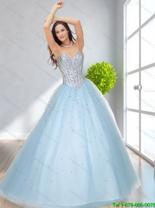 2015 Classical A Line Sweetheart Beading Prom Dresses in Light Blue