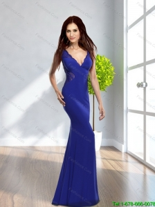 2015 Elegant Mermaid V Neck Lace Cheap Bridesmaid Dresses in Royal Blue