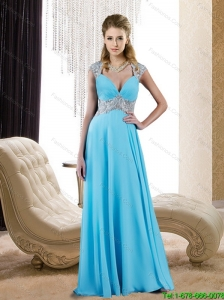 2015 Exclusive V Neck Empire Beading and Appliques Elegant Bridesmaid Dresses in Baby Blue