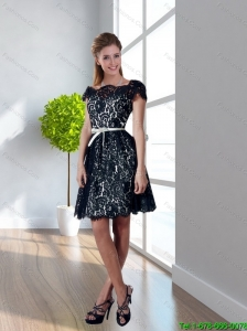 2015 Exquisite Empire Lace and Belt Backless Bridesmaid Dresses in Black