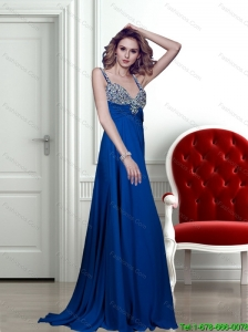 2015 Fashionable Appliques Brush Train Prom Dress in Blue