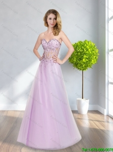 2015 Plus Size Lilac A Line Appliques and Beading Prom Dresses