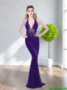 2015  Plus Size Mermaid Halter Top Beading Prom Dresses in Purple