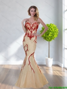 2015 Plus Size Mermaid Sweetheart Champagne Prom Dresses with Appliques