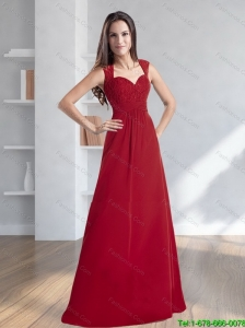 2015 Popular Column Sweetheart Red Prom Dress with Lace