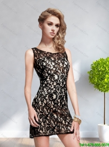2015 Popular Scoop Backless Black Prom Dress with Lace
