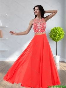 2015 Romantic Halter Top Empire Beading Bridesmaid Dresses in Watermelon