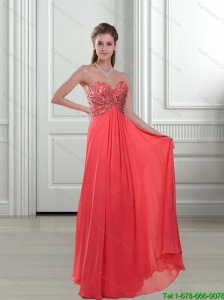 Elegant 2015 Appliques and Beading Sweetheart Watermelon Bridesmaid Dresses