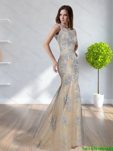 Fashionable 2015 Mermaid Scoop Champagne Elegant Bridesmaid Dresses with Appliques