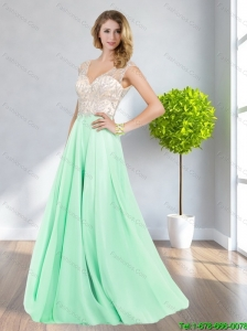 Feminine 2015 Empire Backless V Neck Apple Green Bridesmaid Dresses with Beading