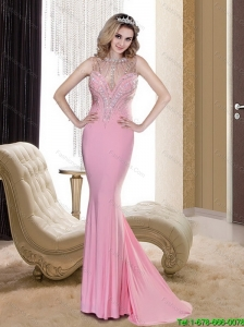 Modest 2015 Mermaid Scoop Backless Rose Pink Cheap Bridesmaid Dresses with Beading