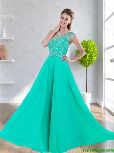 Perfect One Shoulder Empire Beading Prom Dresses in Turquoise