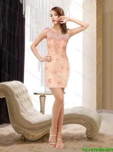 Perfect Scoop Backless Lace Peach Elegant Bridesmaid Dresses with Appliques