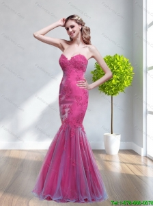 Plus Size 2015 Mermaid Sweetheart Appliques Prom Dresses in Hot Pink