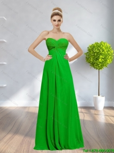 Popular 2015 Sweetheart Backless Ruching Prom Dress in Spring Green