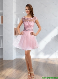 Popular Rose Pink 2015 Beading and Lace 2015 Prom Dress