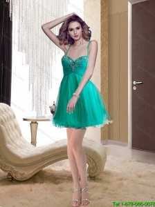 Popular Spaghetti Straps A Line Turquoise Prom Dress with Beading